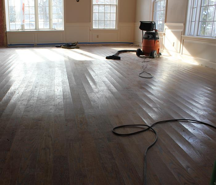 Wood Floor Drying Prior to Re-finishing- Austin,MN Before